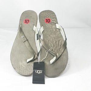 UGG Cloud Metallic Pewter Flip Flops Sz 10
